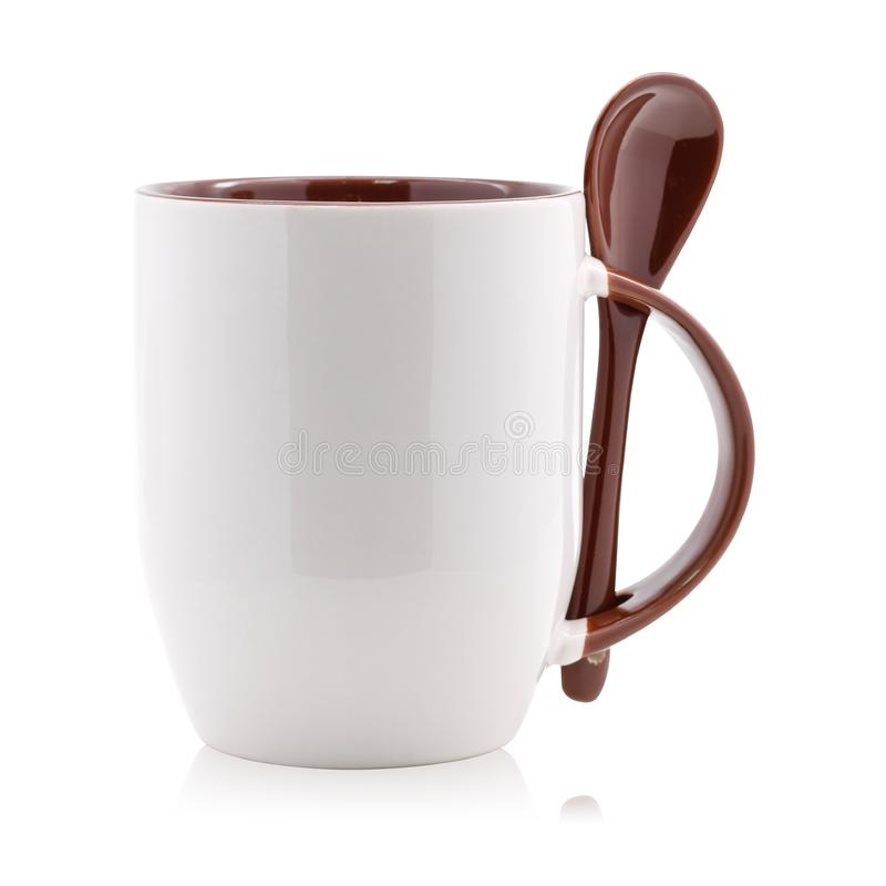 Brown coffee mug and spoon isolated on white background. Empty tea cup for your design.  Clipping paths stock illustration