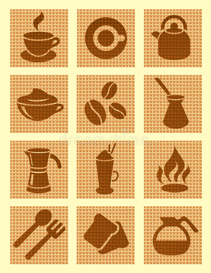 Brown Coffee Textured Icons Stock Image