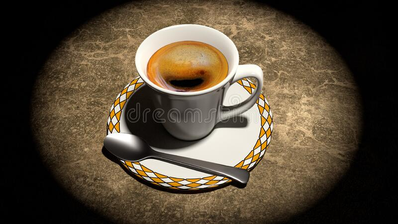 Brown Coffee on White and Brown Ceramic Cup and Saucer With Stainless Steel Spoon royalty free stock photography
