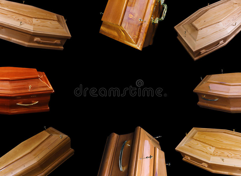 Brown coffins. Many opened coffins on a black background, eight coffins stock photo