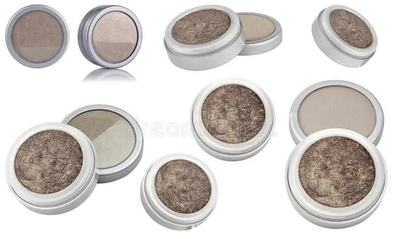Brown color cosmetic eyeshadow powder with glitter particles, in round grey container, eight different instances and views of. Beauty product isolated on white royalty free stock photography