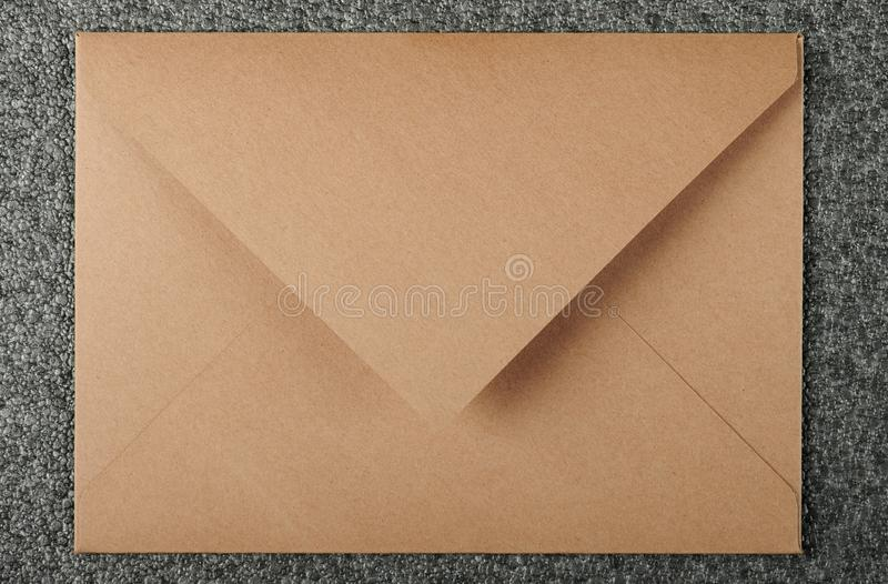 Brown color envelop. From recycled paper top view royalty free stock photo