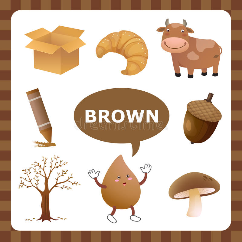 Brown color. Learn The Color Brown- things that are brown color vector illustration