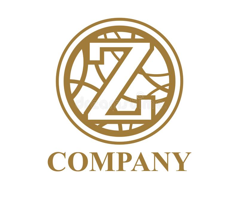 Circle curvy z. Brown color logo symbol type letter z initial business logo design idea illustration shape in circle with beautiful curvy oval line art for stock illustration