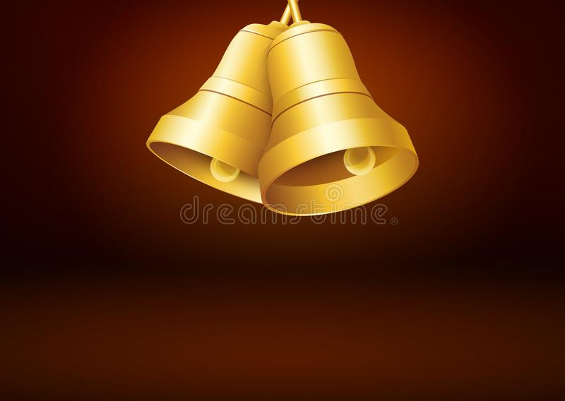 Brown Colored Greeting Card Template with Golden Bells royalty free stock images
