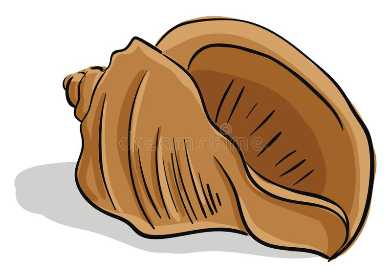 Brown-colored cartoon seashell/Screw-shaped seashell/Gastropod shell vector or color illustration. A brown-colored screw shaped cartoon seashell is a hard and vector illustration