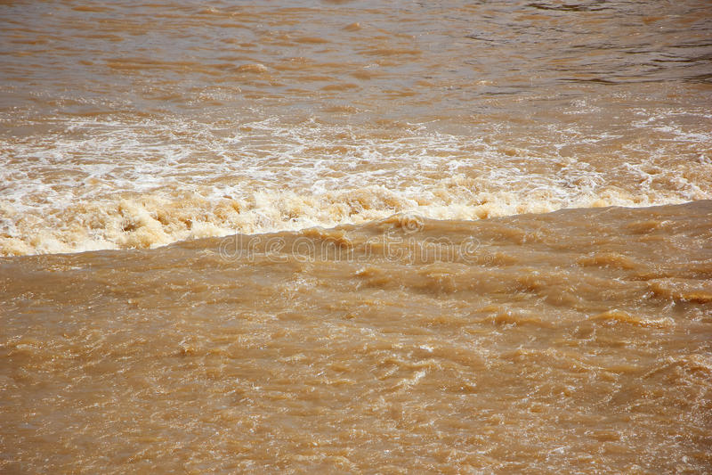 Brown colour of Ping River in Saraphi Dam. South of Chiangmai City stock images