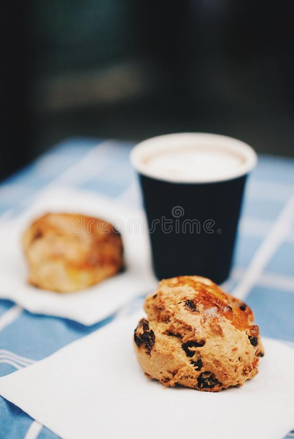 Brown Cookies Beside A Black And White Disposable Cup Free Public Domain Cc0 Image