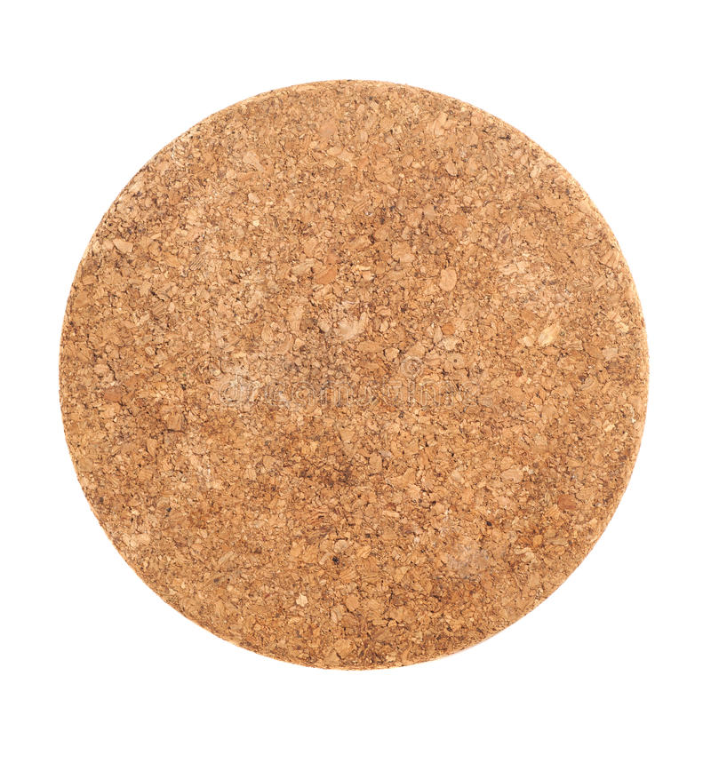 Brown Cork Coaster Isolated rond sur le blanc photo stock