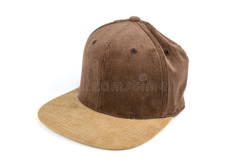 Brown corrugated snapback cap, flat brim. Men accessories, brown corrugated snapback cap, flat brim, isolated white background stock photography