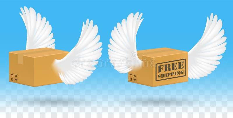 Brown corrugou a caixa da caixa com asa do pássaro ilustração do vetor
