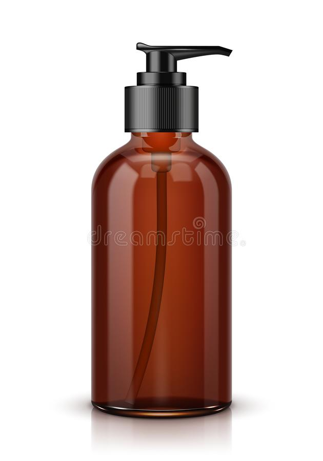 Brown Cosmetic Bottle With Batcher. Isolated stock illustration