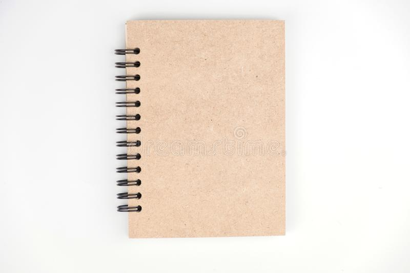 Brown cover book on white isolated background. Copy space royalty free stock photography
