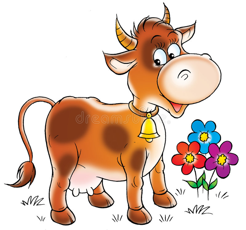Brown cow royalty free illustration
