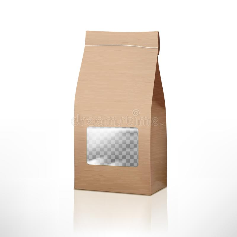 Brown Craft Paper Bag Packaging With Transparent Window vector illustration