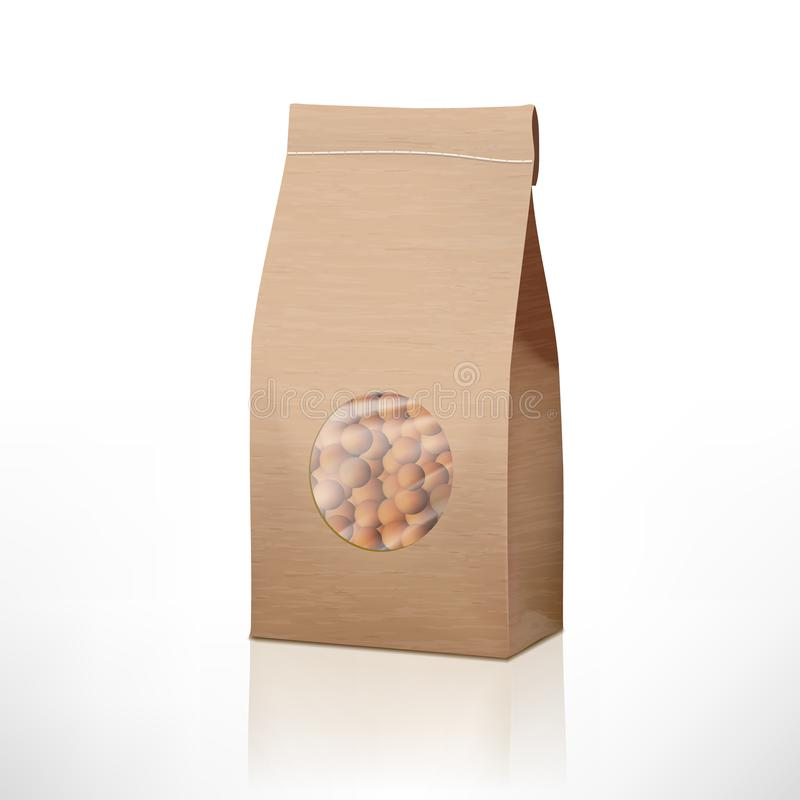 Brown Craft Paper Peas Bag Packaging With Transparent Window. EPS10 Vector royalty free illustration
