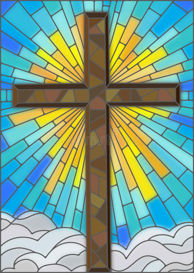 Brown cross on a background of sky and clouds, stained glass style vector illustration