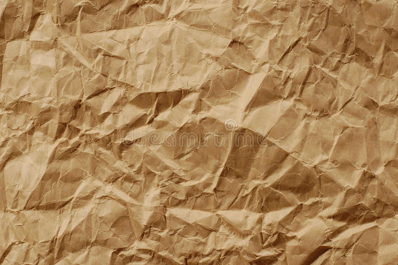 Brown crumpled paper stock photography