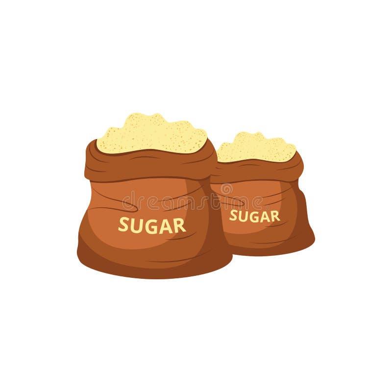 Brown cukieru jutowe torby wypełniali z słodkim koloru żółtego proszkiem ilustracja wektor