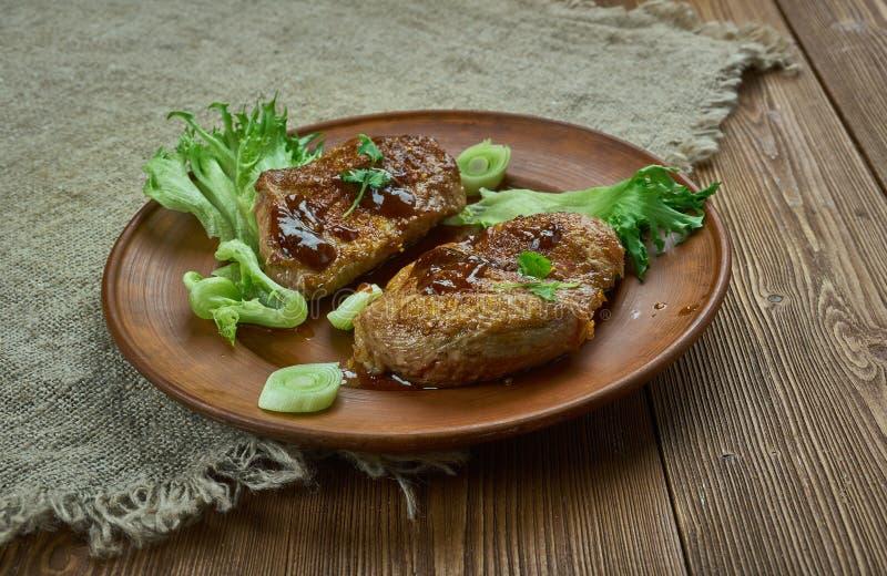 Brown cukieru wieprzowiny kotleciki zdjęcia stock