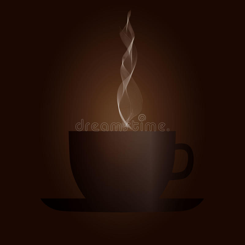 Brown cup of coffee with steam, vector illustration stock illustration
