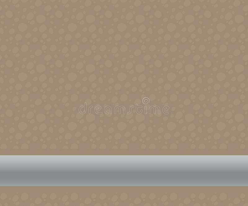 A brown two-tone cut of soil under the ground with lighter round stones or a heater and a light gray metal volumetric trumpet wate royalty free illustration