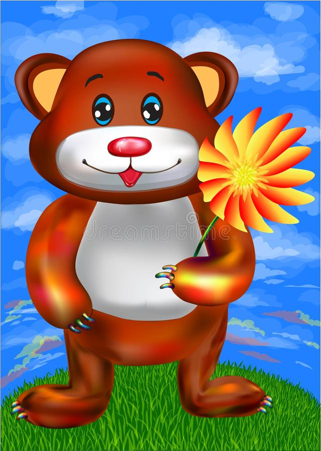 Brown cute bear cartoon with a flower stock images
