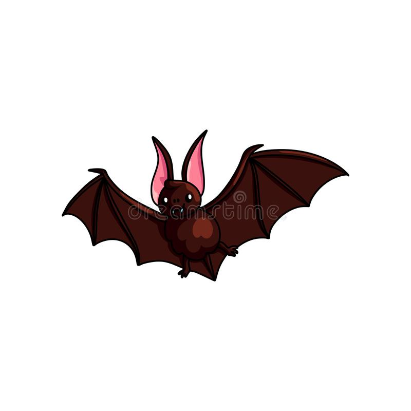 Brown cute flying bat, horror cave animal vector illustration