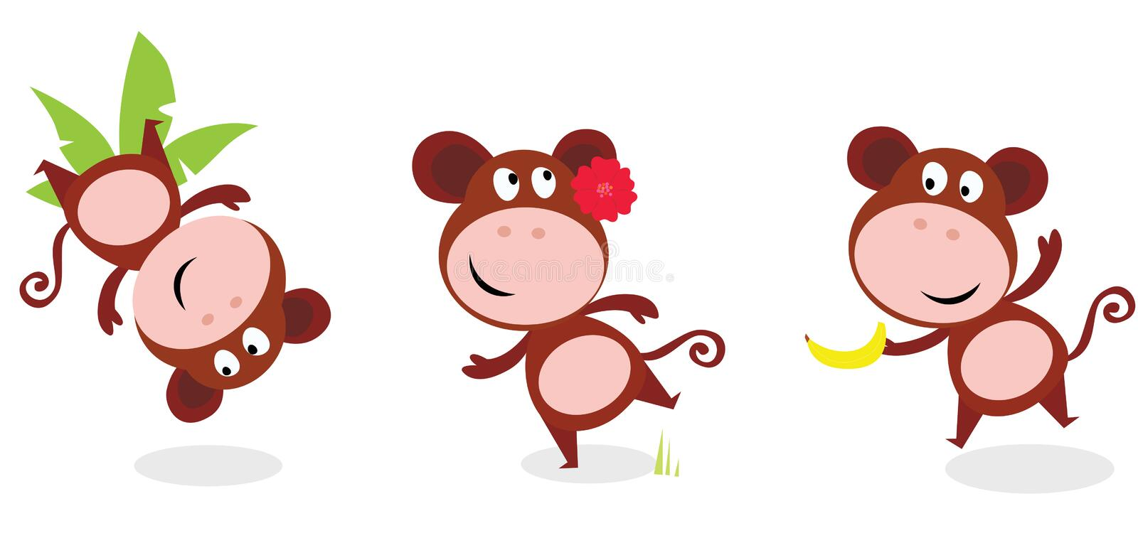 Brown cute monkey poses isolated on white royalty free illustration