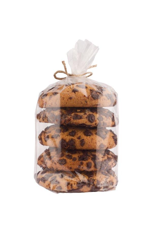 Brown czekoladowi ciastka w przejrzysty pakować zdjęcia stock