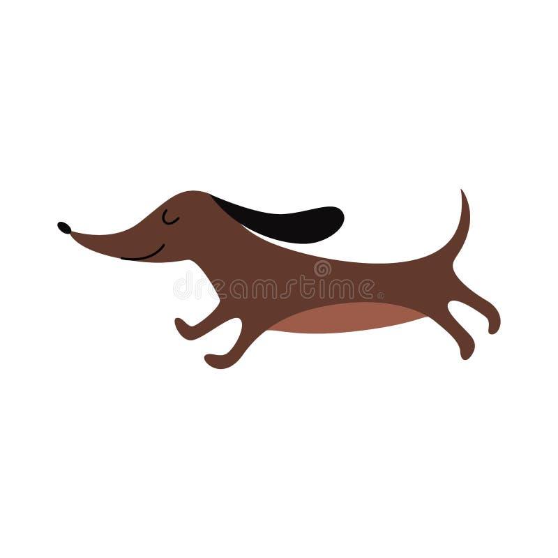 Brown dachshund running with eyes closed - cute cartoon wiener dog stock illustration