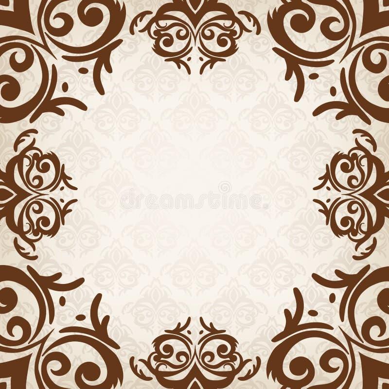 Brown damask frame stock vector. Illustration of background - 40319782