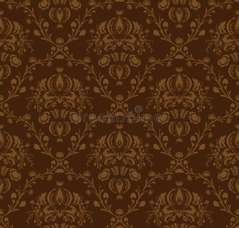 Brown damask pattern stock illustration