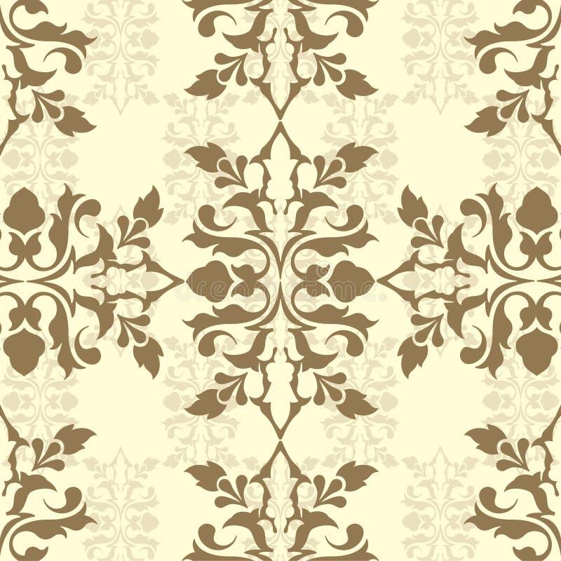 Brown damask wallpaper vector illustration