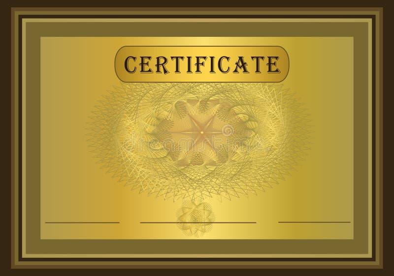 Or Brown de certificat illustration de vecteur