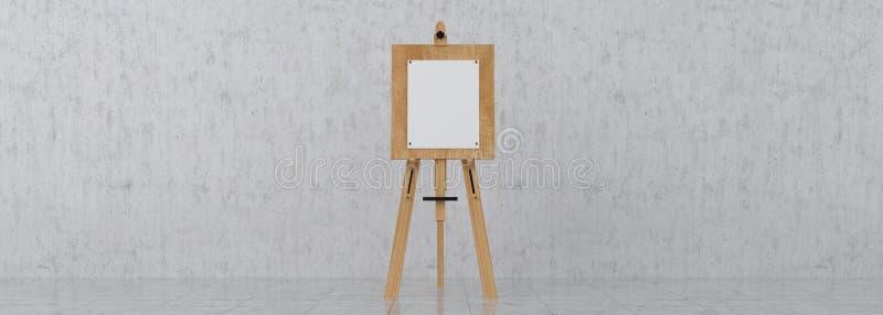 Brown de madera Sienna Easel con mofa encima de la lona en blanco vacía Isolat fotografía de archivo