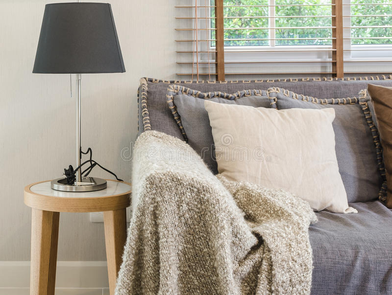 Brown decke auf sofa mit lampe im wohnzimmer stockfoto bild von