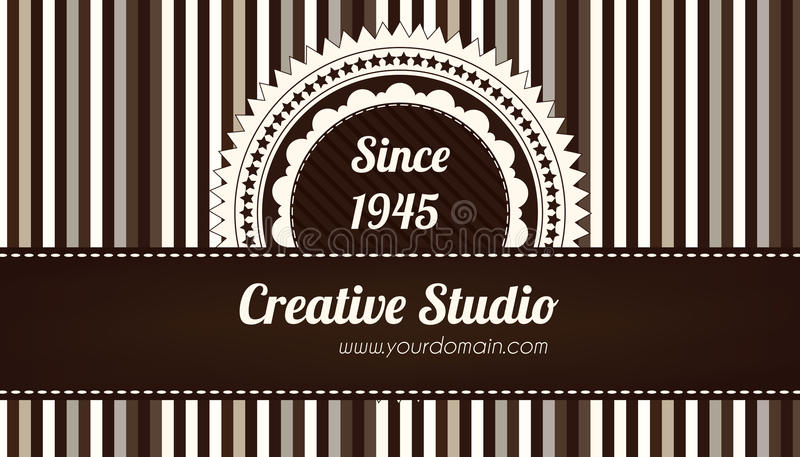 Brown decorative business card vector illustration