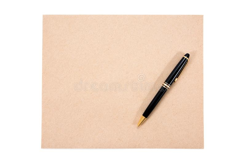 Brown document envelope and pen isolated royalty free stock images