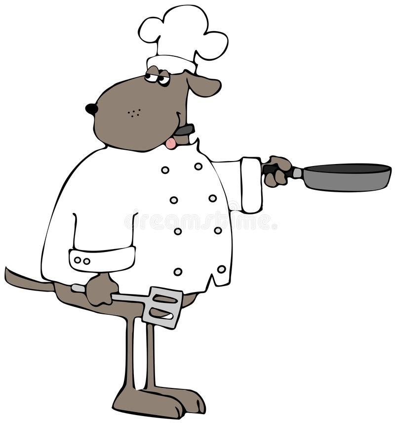 Brown dog chef with a frying pan royalty free illustration