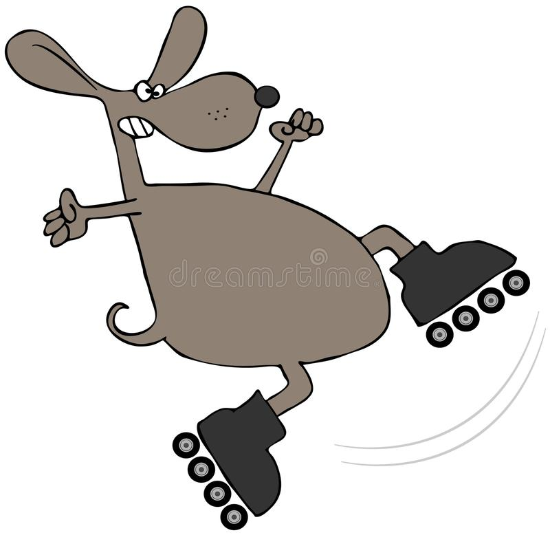 Brown Dog On Roller Blades royalty free illustration