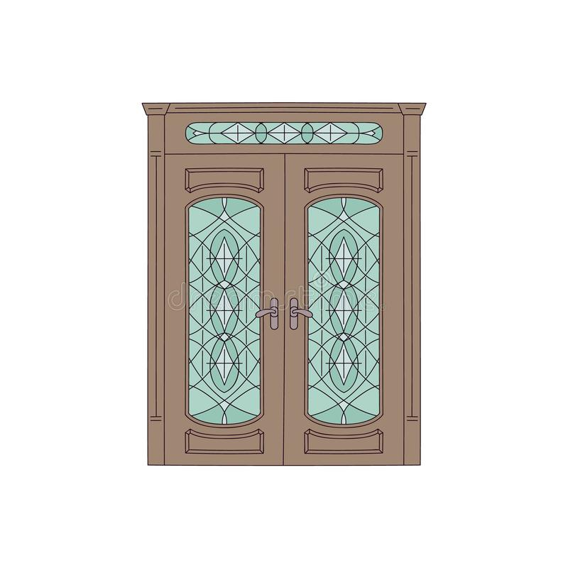 Brown-Doppelthaustür mit Buntglas, Weinlesearchitekturentwurf mit klassischem hölzernem Rahmen vektor abbildung