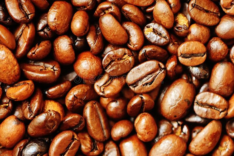Brown dry roasted coffee beans stock photo