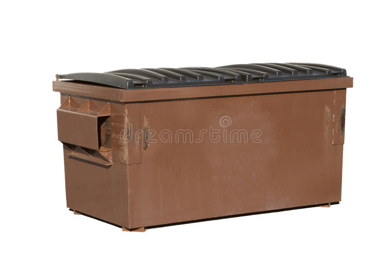 Brown Dumpster Isolated on a White Background stock photos