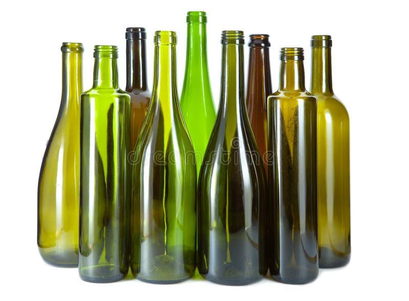 Brown e bottiglie di vetro vuote di verde fotografia stock libera da diritti