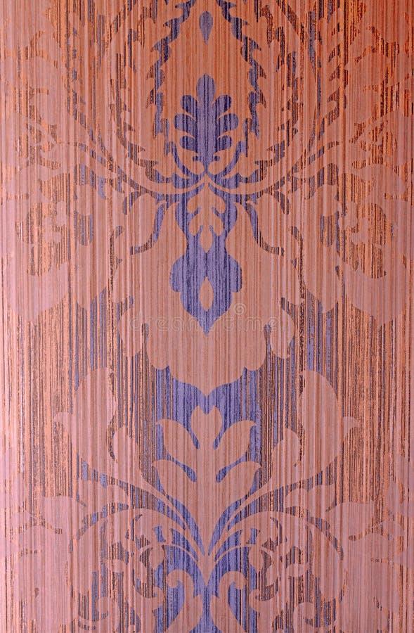 Brown e carta da parati d'annata blu con il modello del damasco fotografie stock