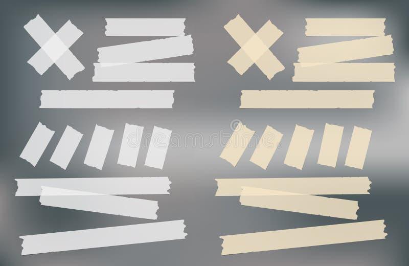 Brown e esparadrapo branco, pegajoso, mascarando, tiras da fita adesiva para o texto no fundo cinzento Ilustração do vetor ilustração royalty free