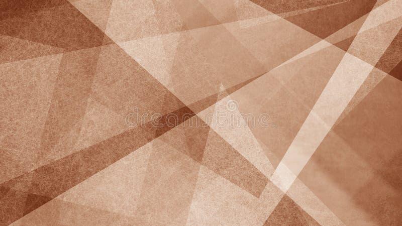 Brown e fondo astratto bianco con le bande e forme del triangolo nel modello geometrico moderno illustrazione vettoriale