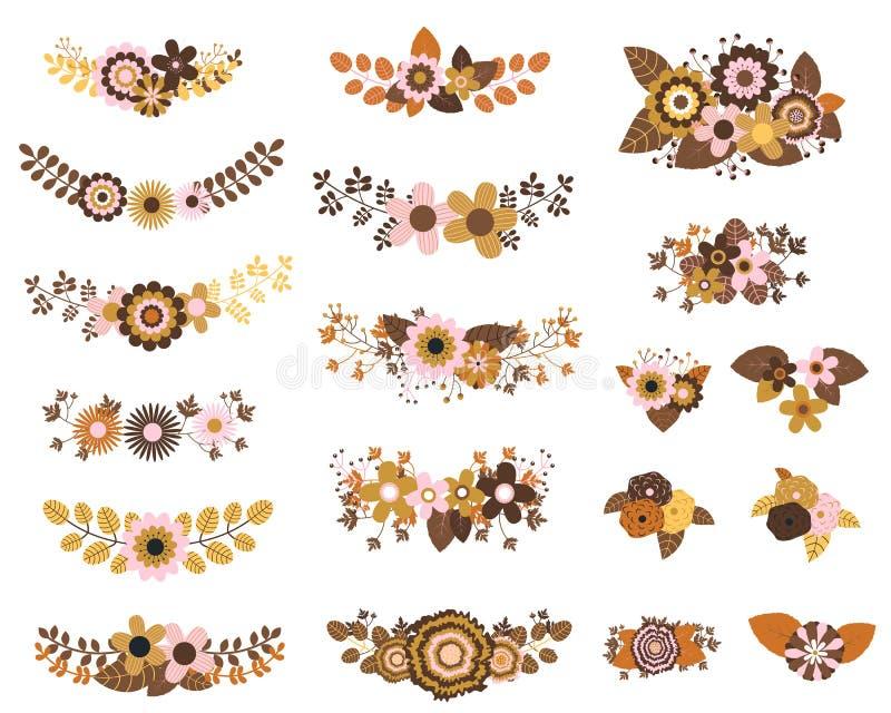 Brown e grupos florais do vetor do ocre ilustração stock