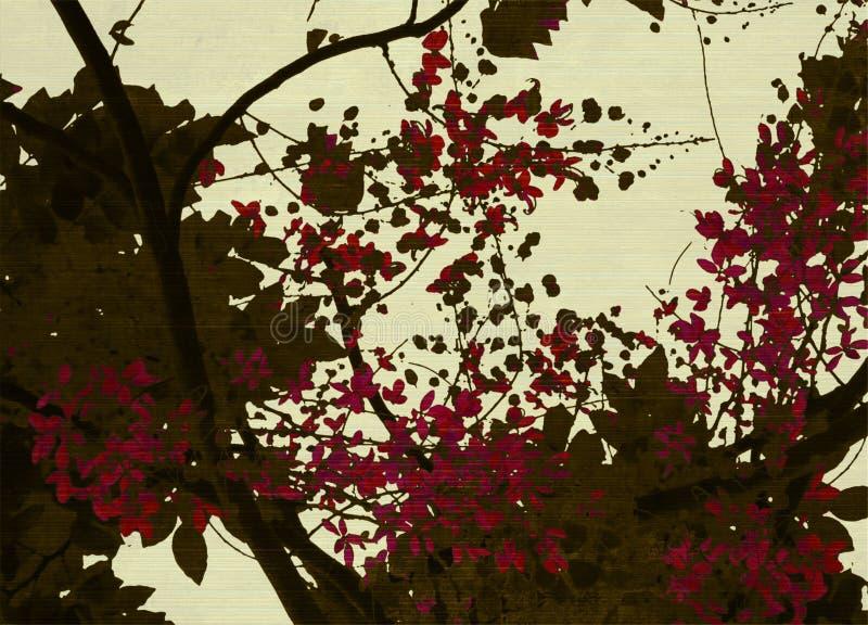 Brown e impresión roja del flor en el fondo poner crema fotografía de archivo libre de regalías